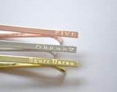 Tie Clip - Tie Bar - Skinny - Mens Engraved Tie Bar Clip - Hidden Message