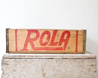 Vintage Rola Pop Soda Crate Box Wooden Bin Wood Storage Box Bathroom Storage Cabinet Spice Rack Small Vintage Crate