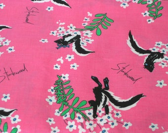 "Vintage Fabric - Pink Stink Weed - Juvenile - Nursery Fabric - 44""W - 70's - fabric by the yard - material - textile - sewing supply - Retro"