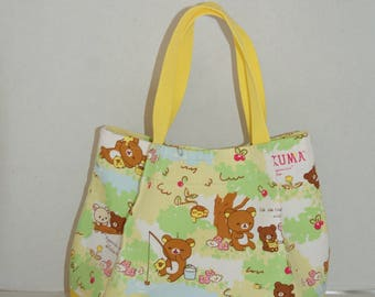 """Mini Gathered Tote Bag Made with Japanese Cotton Fabric with Solid Bottom with Interior Pocket Made with """"Rilakkuma - Day in the Woods"""""""