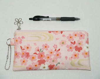 """Padded Zipper Pouch / Pencil Case / Cosmetic Bag Made with Japanese Cotton Kimono Fabric """"Pink Sakura"""""""