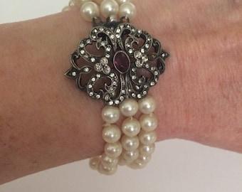 Pearl bracelet Three Strand Sterling Clasp