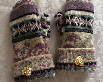 Felted Wool Mittens made from wool sweater