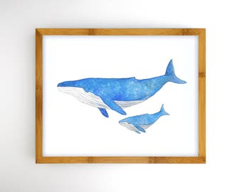 Mother and Baby Whale - Instant Download Printable Art - Ocean Nursery Artwork