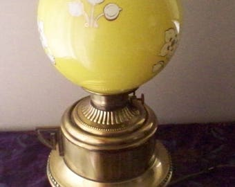 ON SALE Antique Parlor Lamp Moses Swann McLewee Co. Brass Kettle Base Hurricane Lamp Yellow Decorated Globe Shade  Victorian 1800's