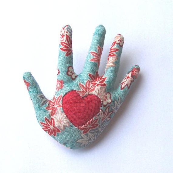 Sakura Maple Leaf Hand Brooch Reverse Applique Fabric Hamsa Pin Ready to Ship