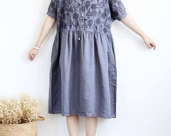 Women loose fitting long dress large size maxi dress/dark red/ gray/ Dark blue/ black