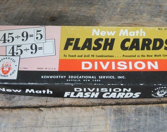Vintage Division Flash Cards 1964 Kenworthy Educational Buffalo NY
