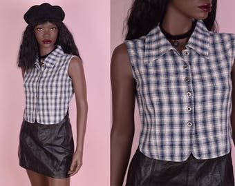 90s Plaid Button Down Top/ Small/ 1990s/ Tank/ Sleeveless
