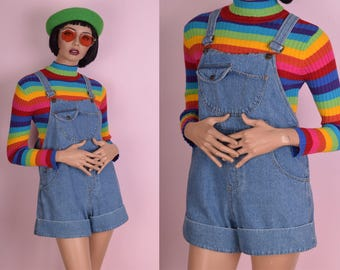 90s Denim Overall Shorts/ Medium/ 1990s
