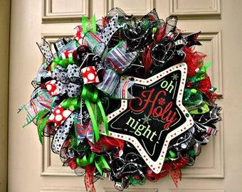 """Mesh Christmas Wreath, Front Door Wreath, """"Oh Holy Night"""" Wreath, Deco Mesh Christmas Wreath, Star Wreath, Mesh Holiday Door Wreath"""