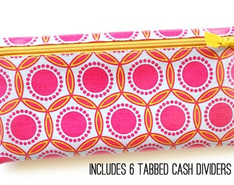 Geometric design cash wallet for Dave Ramsey budget | 6 tabbed dividers | pink, purple-gray, mustard designer laminated cotton