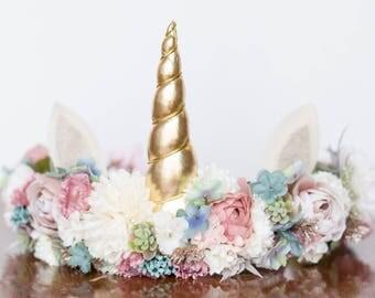 Unicorn Flower Crown - Flower Rustic Halo - Flowergirl hairpiece - Wedding - Photo Prop - Floral Hairpiece - Magical Unicorn - Birthday Crow