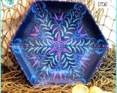 Mandala Sea Urchin Tray, Handpainted Wood, OOAK, *indigo, turquoise, blue, orchid* #1706