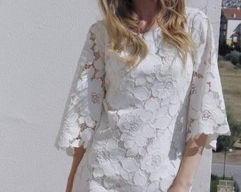 Floral cotton lace mini dress 70 s style