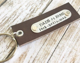 Dads number one fans personalized hand stsmped leather and metal keychain