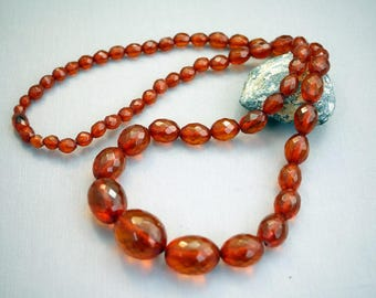 Art Deco Baltic Amber Long Faceted Bead Necklace 30 inch necklace