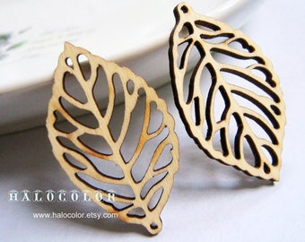 Dyeing Series - 6 PCS 28x50mm  Variety of Colors Laser Cut Leaves Wooden Charm/Pendant ONM1
