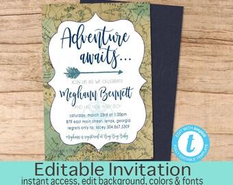 Adventure shower invitation, Adventure Awaits Baby Shower Invitation, Navy Tan Travel Map Invitation, EDITABLE Invitation, Instant Download
