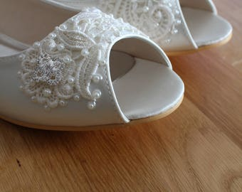 Wedding Shoes - French Knotwork Lace Peep Toe Flats - Pearls and Crystals - White/Ivory/Custom Colors