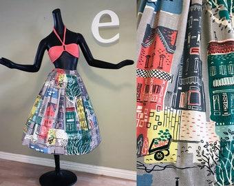 Vintage 50s Novelty Skirt 1950s Rockabilly Heavy Cotton Drapery Fabric San Francisco Amsterdam Brooklyn Manhattan New York Row House Scene S