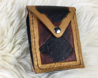 Small Leather Belt Pouch - Brown Gold with Black Bear - Belt Pouch - Viking Belt Pouch - Hip Bag - Belt Bag - Leather Hip Bag - Belt Pocket