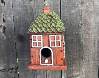 Hobbit House Birdhouse, Poly Armour Resin & Fiberglass Birds House Hand Painted, Hanging Outdoor Whimsical Birdhouses, Item #526499238
