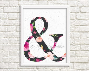 Floral Ampersand, Digital Print, Instant Download, Trendy, wall decor, office decor, shabby chic print