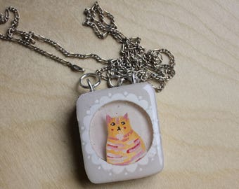 Wooden Cat Necklace - Shadow Box Jewelry