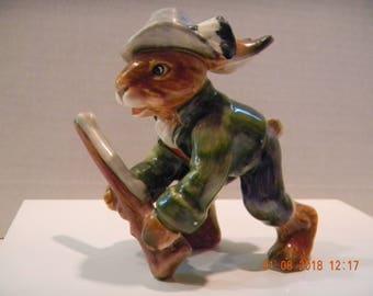 Vintage Goebel Bunny Rabbit Hunter Vigilante figurine..West Germany