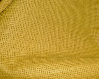 "Leather 8""x10"" PANAMA YELLOW Basket Weave Embossed Cowhide 2-2.5 oz/0.8-1 mm PeggySueAlso™ E8000-25"