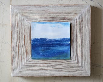 Abstract Seascape  - Original Small Contemporary Painting - Blue - Ocean - Waters