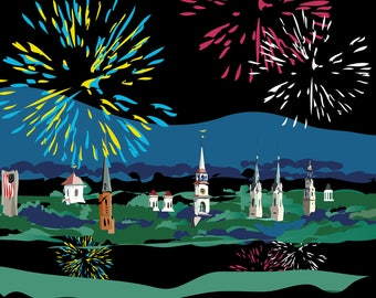 Frederick, MD spires on 4th of July