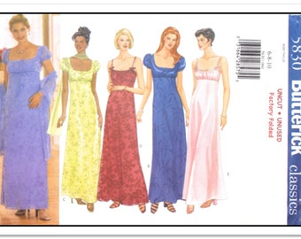 "BUTTERICK Pattern 5830 - Misses' ""Classics"" Long Dress w/High Empire Waist, Fitted Bodice, Spaghetti Straps and Scarf - Sz 6-8-10 - Uncut/FF"