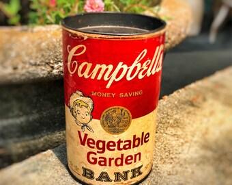 Campbell's soup vegetable garden bank