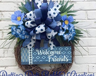 A Country Welcome Friends Grapevine Wreath, Summer Wreath, Welcome Friends Wreath, Grapevine Wreath, Beach Everyday