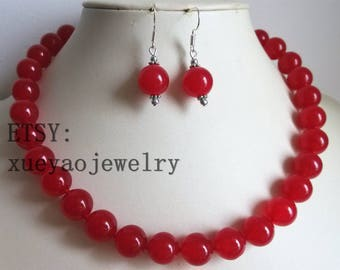 jade necklace - beautiful 12mm red jade necklace & earring set free shipping