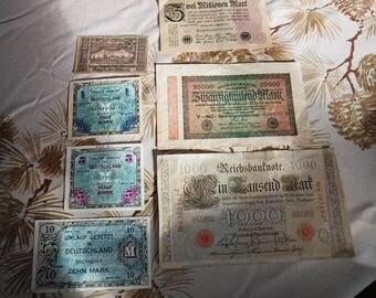 Reichsbanote 1000 1910 & 20000 1923 Deutschland Mark 1944