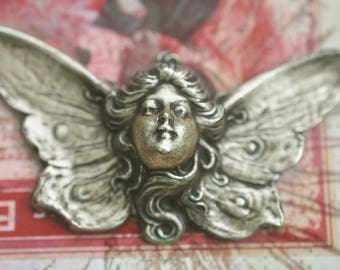 Large Art Nouveau  winged lady brass stamping, Brass Ox