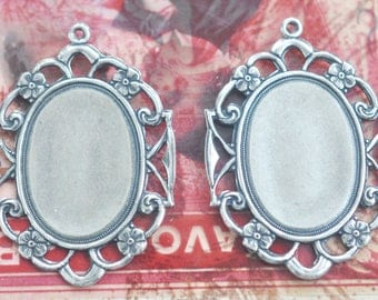 TWO 18mm X 25mm brass filigree bezels frames with hoop, Sterling Silver Finish, Brass Stampings by Calliopes Attic