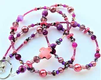 MAGENTA CROSS- Beaded ID Lanyard- Magnesite and Lucite Beads, Glass Pearls, and Sparkling Crystals  (Necklace Clasp)
