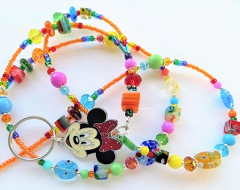 CHEERFUL MINNIE- Beaded Id Lanyard- Sparkling Crystals, Milliefiori Beads, and Minnie Mouse Charm (Magnetic Clasp)