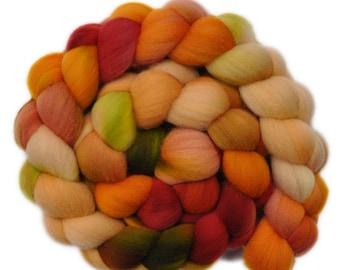 Hand dyed roving -  Targhee wool spinning fiber - 4.1 ounces - Friendly Feeling 2