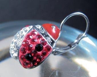 Closed Hook Ladybug Earrings, Silvertone, Rhinestones, Enamel