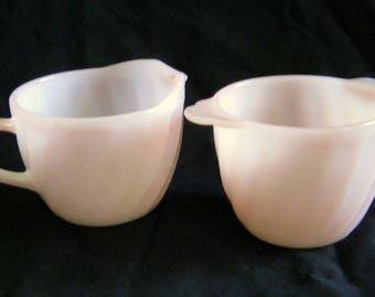 Vintage 1950's FIRE KING Oven Ware Pink Swirl Tab Handled Sugar and Creamer SET