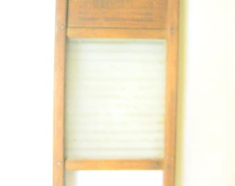 Rustic Primitive NATIONAL 864 Wood and Glass Small Size Laundry WASHBOARD Wash Board