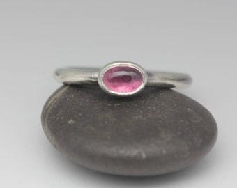 Pink Tourmaline Ring, Tourmaline & Sterling Ring, Pink Gemstone, Boho Chic Ring, Size 7
