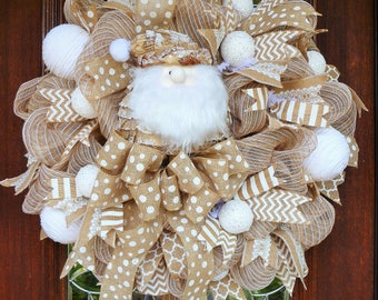 BURLAP and WHITE SANTA Wreath, Christmas Wreath, Natural Christmas Wreath, Double Doors Wreath