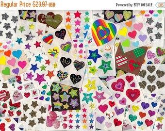 SALE Sandylion Huge Lot of 50+ Modules of Heart & Star Stickers - Love Glitter Prism Kromekote Rainbow Valentine Christmas Stocking Stuffer