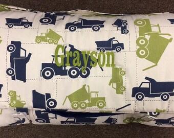 Nap Mat Boys truck green with blue blanket